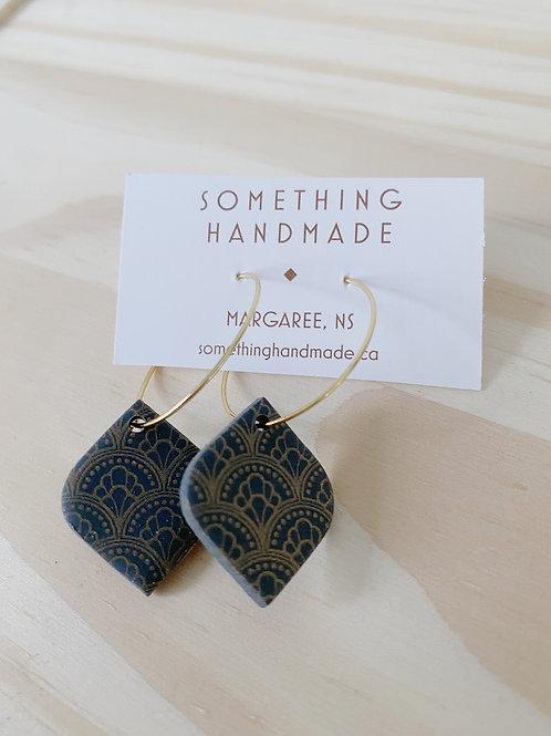 Coal Teardrop Hoop Earrings | Something Handmade
