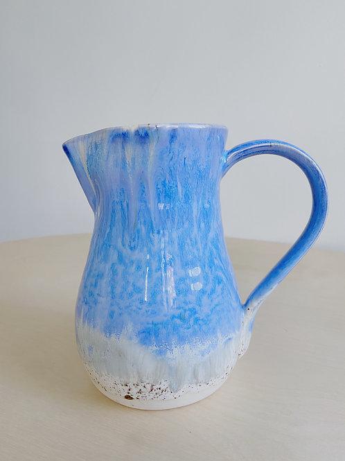 Blue + Oatmeal Pitcher | Kym's Pottery Studio