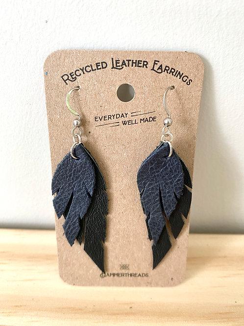 Leather Deep Navy + Black Feather Earrings   Hammerthreads