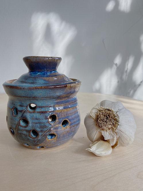 Blue Garlic Pot | Postma Pottery