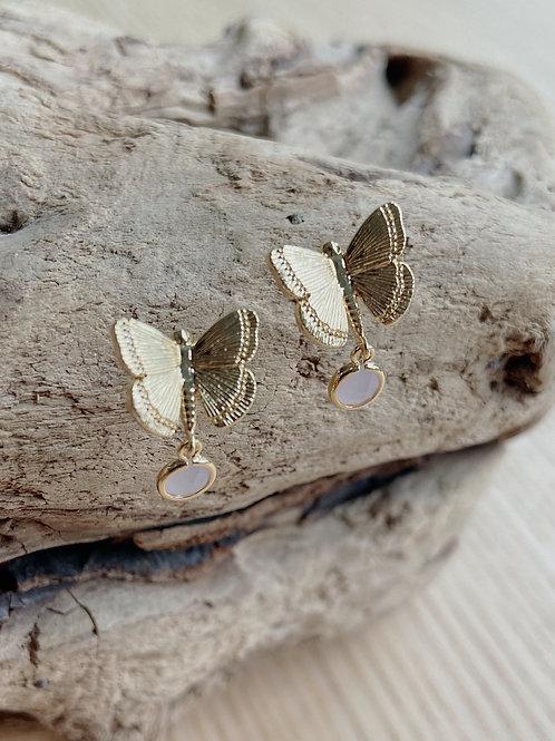 Gold Butterfly Studs with Pink Venetian Glass Earrings   Elephant/Castle