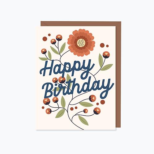 Goldenberry Vines Happy Birthday Card   Halifax Paper Hearts
