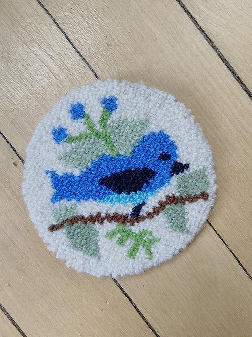 Blue Bird Coaster | Cheticamp Rug Hooking