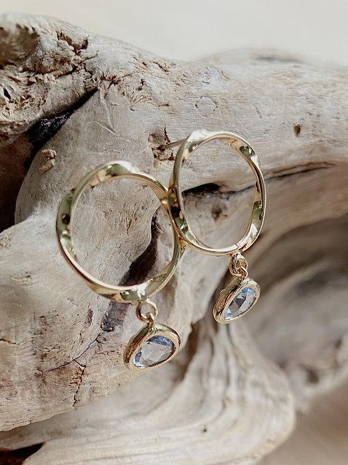 Gold Beveled Hoop with Blue Venetian Glass Earrings | Elephant/Castle by Dara