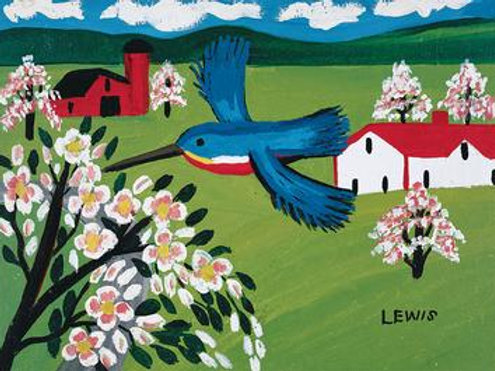 Kingfisher + Apple Blossoms Card | Maud Lewis | Art Gallery of NS