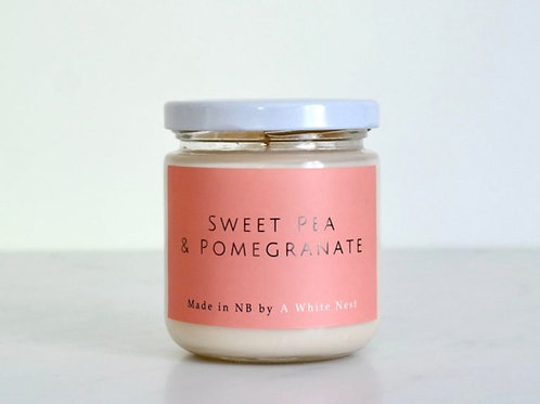 Sweet Pea + Pomegranate Candle   A White Nest