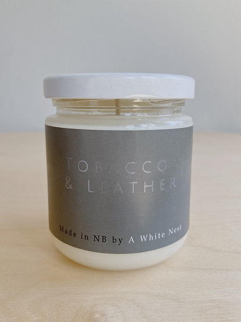 Tabacco + Leather Candle | A White Nest