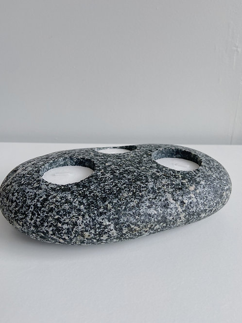 Triple Tealight Stone Candle Holder | Cornerstone