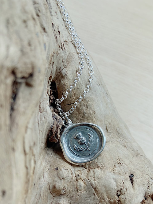 Scottish Thistle Silver Necklace | Protection | Plum + Posey