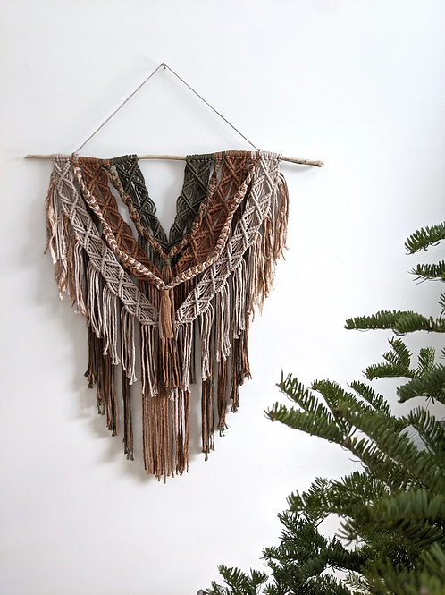 Layered Earthy Macrame Hanging | String Theories Fiber Design