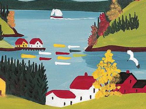 Coastal Scene with Gulls Card | Maud Lewis | Art Gallery of NS