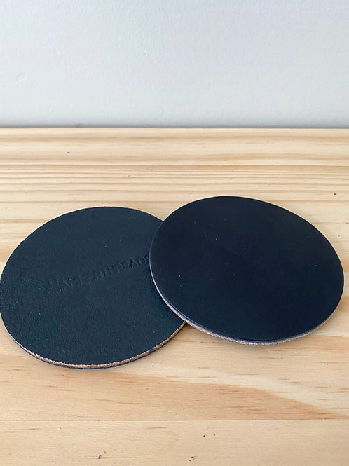 Navy Leather Coasters -  Set of 2   Hammerthreads