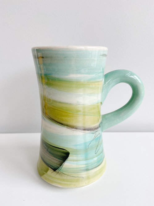 Tall Aqua + Green Mug   Keffer Pottery