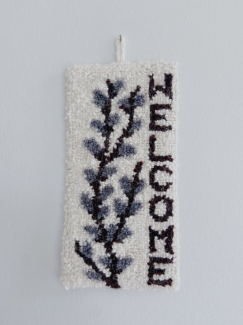 Pussy Willow Welcome Hanging | Cheticamp Rug Hooking
