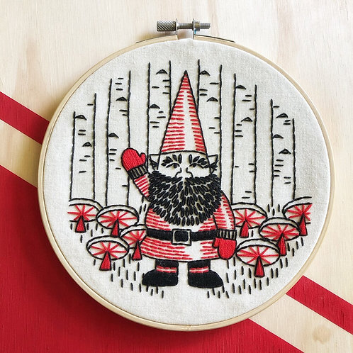 Gnomework Complete Embroidery Kit   Hook, Line + Tinker