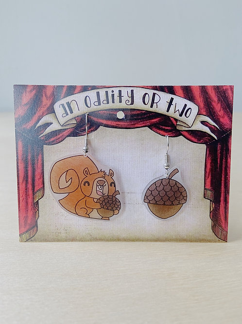 Squirrel + Nut Earrings | An Oddity of Two