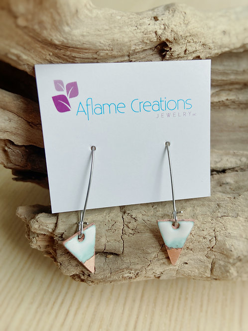 Triangle Drop Earrings in White & Polished Copper | Aflame Creations