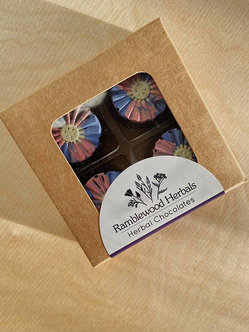 Flower Power Chocolate Truffles- Box of 4 |  Ramblewood Herbals