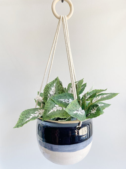 Black + White Hanging Planter | Anderson Pottery