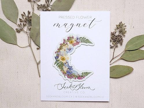 Pressed Flower Moon Design Magnet   Seek + Bloom