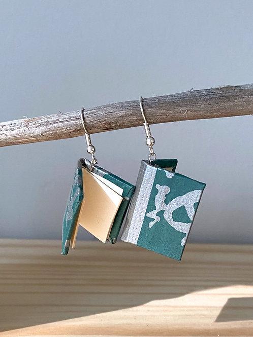Dream Book Earrings   Teal Green + Silver   Terry Durnavich