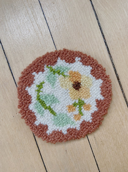 Earth Tone Floral Coaster | Cheticamp Rug Hooking