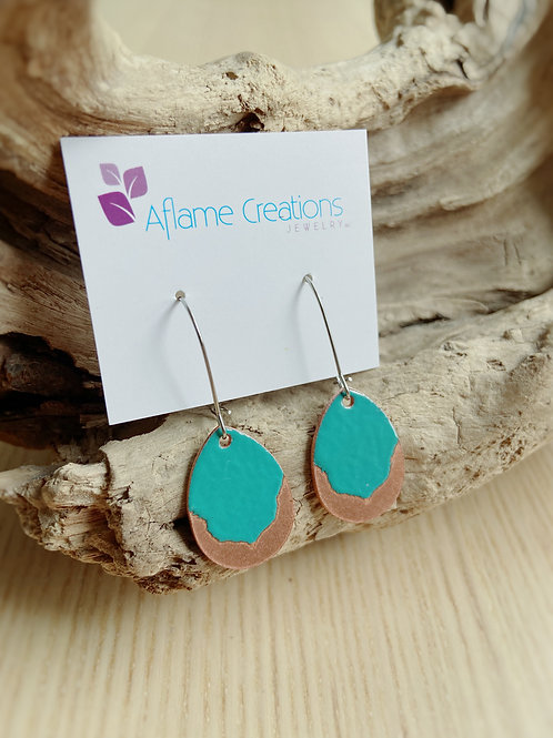 Petal Earrings in Teal + Polished Copper | Aflame Creations