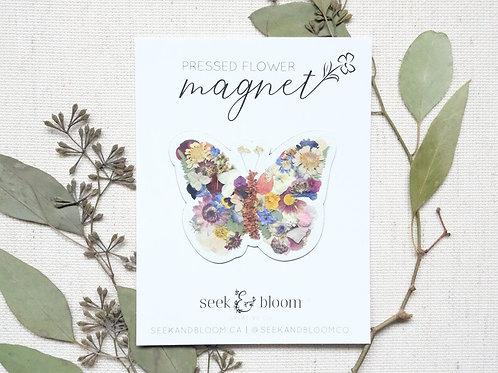 Pressed Flower Butterfly Design Magnet | Seek + Bloom
