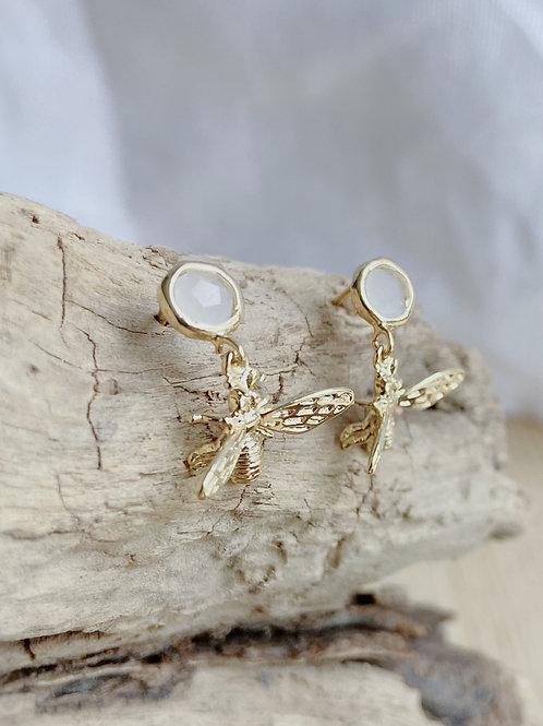 Moonstone Stud + Gold Bee Earring | Elephant/Castle by Dara