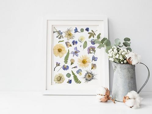 """Blue Flower Collage Print   8"""" x 10""""   Seek + Bloom"""