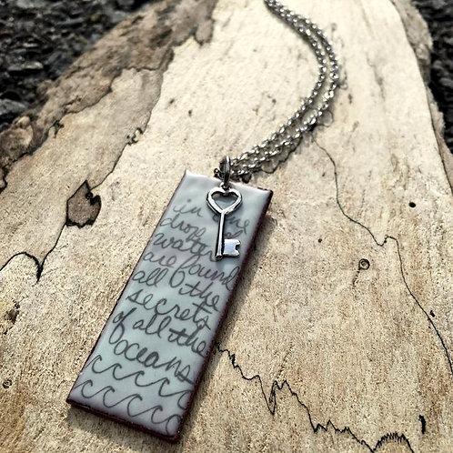 Ocean Poem Enamelled Necklace in Sky Blue | Aflame Creations