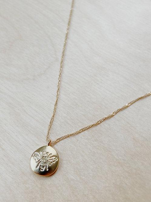 Gold Bee Pendant + Necklace   Elephant/Castle