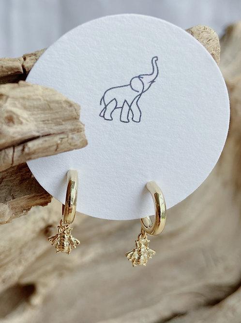 Bee Charm Gold Hoop Earrings   Elephant/Castle by Dara