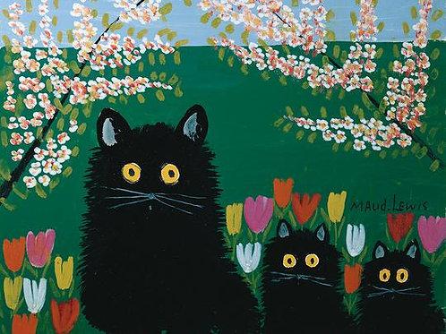 Three Black Cats Print | Maud Lewis | Art Gallery of NS