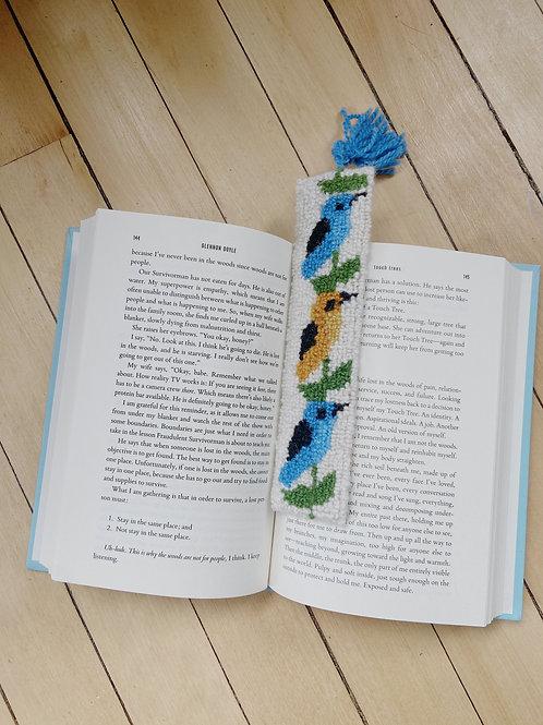 Bird Bookmark   Blue + Yellow   Cheticamp Rug Hooking