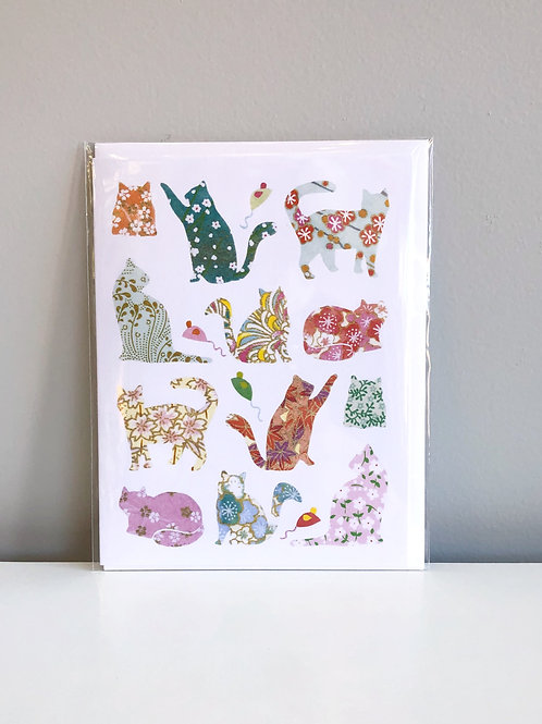 Floral Cats Card   Cards by Kate
