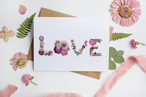 LOVE Pressed Flower Design Card | Seek + Bloom