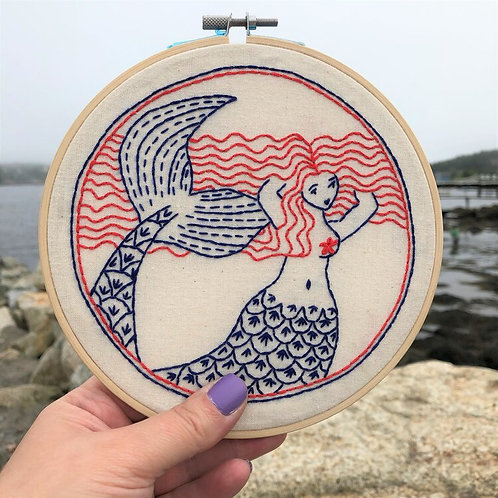 Mermaid Hair Don't Care Complete Embroidery Kit | Hook, Line + Tinker