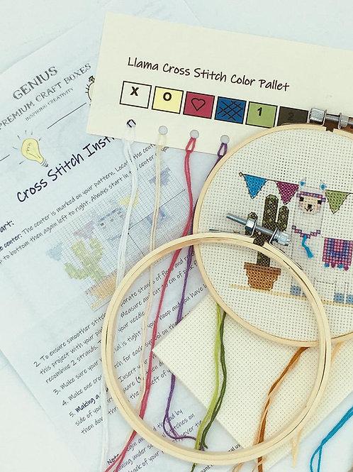 Llama & Cacti Cross Stitch Kit | Genius Premium Craft Boxes