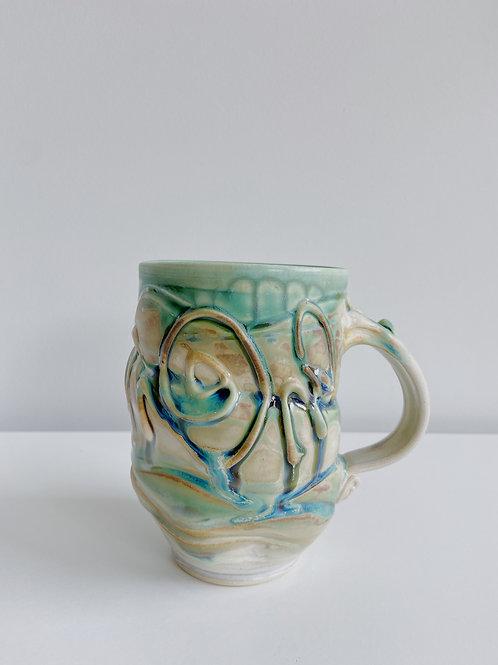 Oatmeal + Green Mug   Robert McMillan Pottery