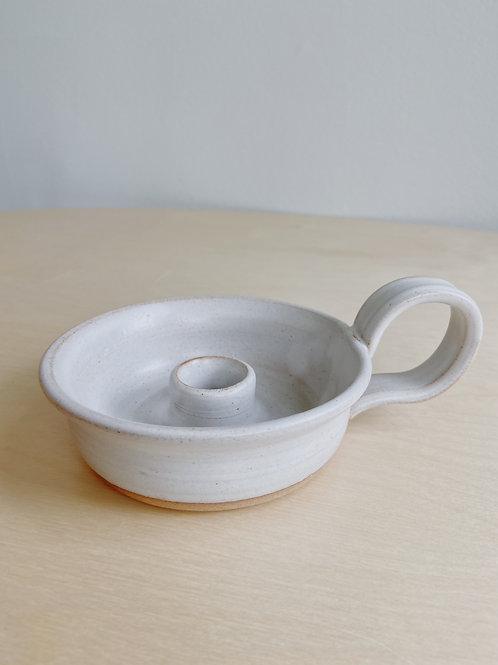 Fog + Mist Taper Candle Holder with Handle | Old Barn Pottery