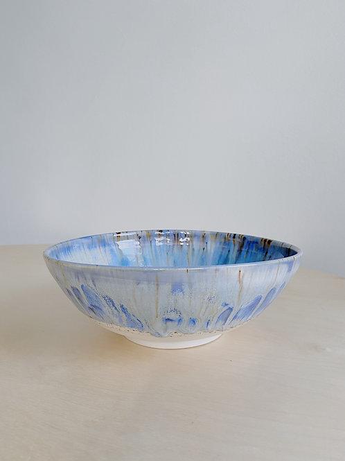 Blue + Oatmeal Medium Bowl | Kym's Pottery Studio