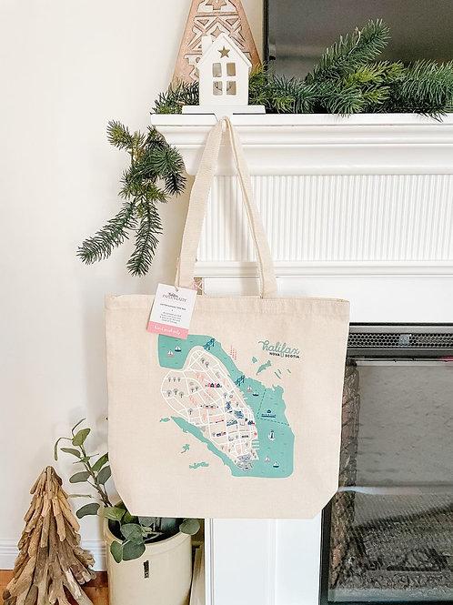 Halifax Map Tote Bag   Halifax Paper Hearts