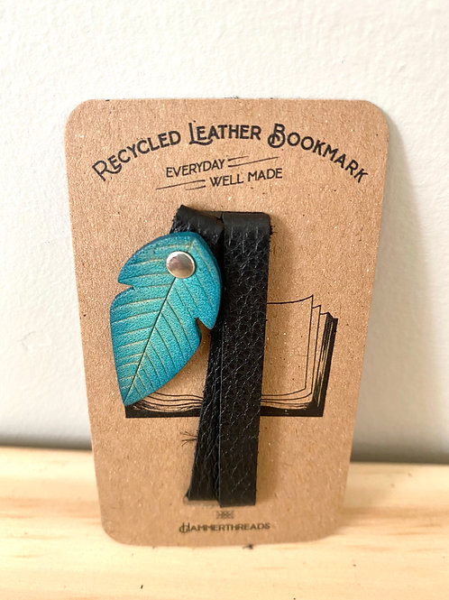 Leather Blue Feather Bookmark | Hammerthreads