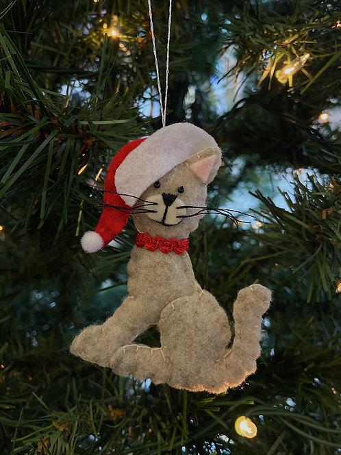 Sitting Santa Hat Cat Felt Ornament   Rosemary Taylor