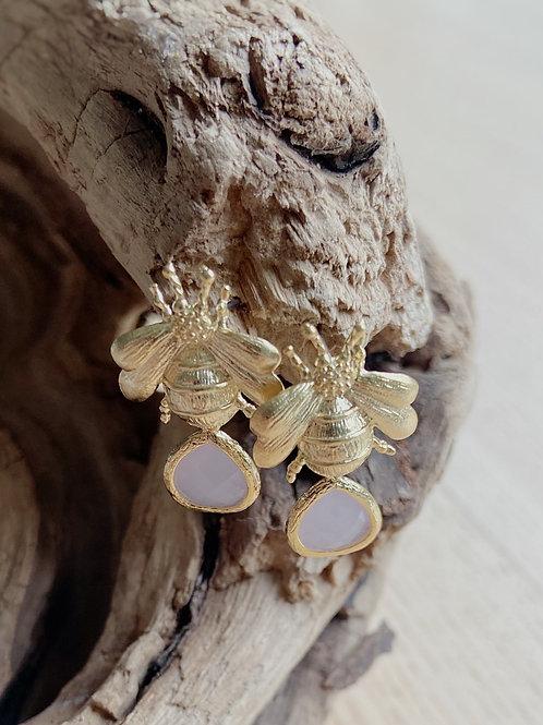 Gold Bee Stud with Pink Venetian Glass Earrings | Elephant/Castle by Dara