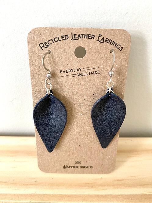 Black Leather Leaf Earrings | Hammerthreads