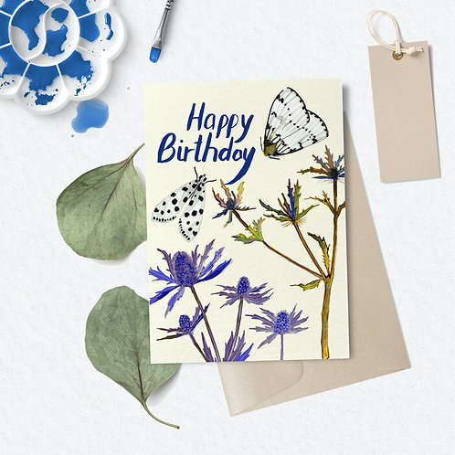 Happy Birthday with Moths Card | Briana Corr Scott