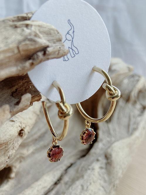 Gold Knotted Hoop with Auburn Venetian Glass Earrings | Elephant/Castle b