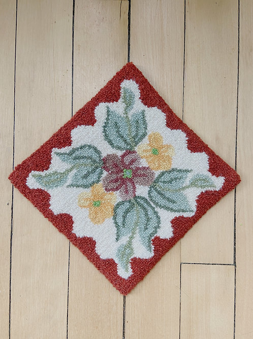 Rust Floral Square Mat | Cheticamp Rug Hooking